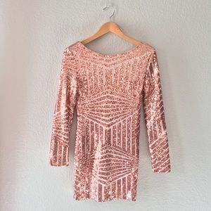 ✨Charlotte Russe✨ Rose-gold Sequin Mini Dress